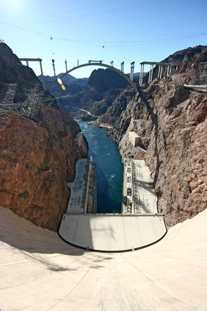 Famous Hoover dam on the border of Arizona and Nevada