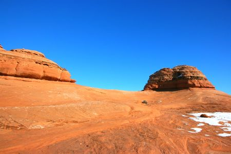 Colorful mountain slope in the Arches National Park