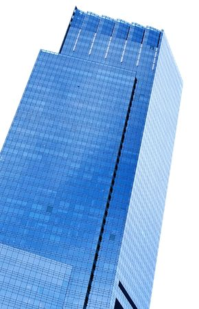Two blue skyscrapers in New York on white background Stock Photo