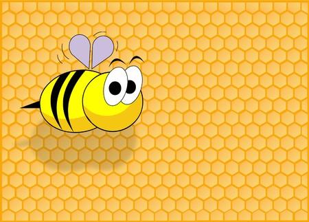 celula animal: Fondo de la celda de miel y una divertida abeja volando  Foto de archivo