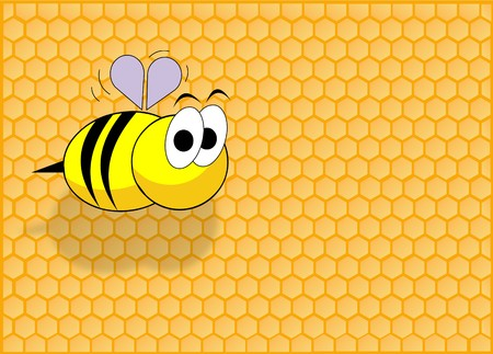 Honey cell background and a funny bee flying