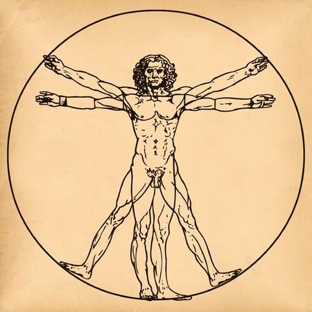 graffiti brown: Edad de a�os papel con m�dico s�mbolo del hombre de vitruvian por Leonardo da Vinci