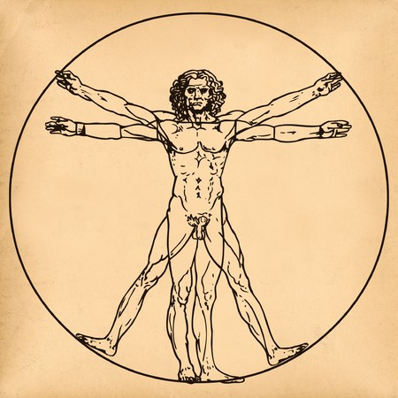 vitruvian: Old aged paper with medical symbol of vitruvian man by Leonardo da Vinci