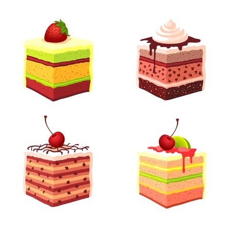 strawberry jelly: illustration - set of cakes Illustration