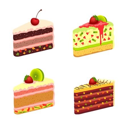 meringue: illustration - set of cakes Illustration