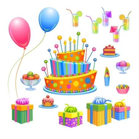 Juego de cumpleaños - pastel, regalos, frutas, dulces, helados, cócteles, globos