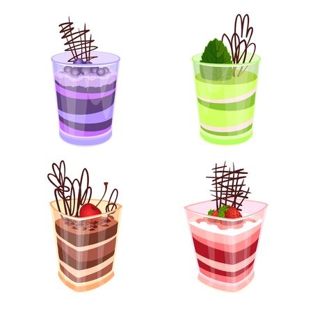 chocolate mousse: illustration - a set of mousses