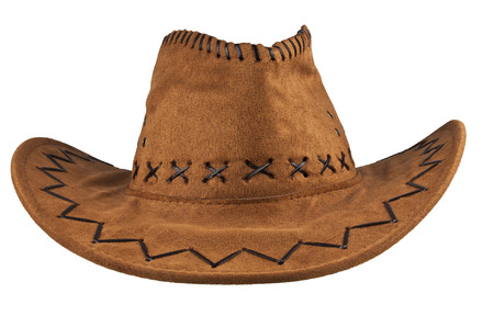 brown leather hat: Cowboy hat isolated on the white background