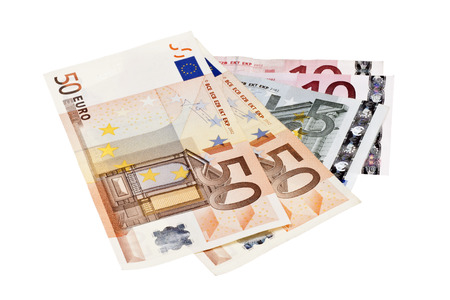 international bank account number: Euro banknotes isolated on white background Stock Photo