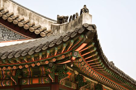 korean style house: Seoul, Korean traditional architecture, sky, asian roof