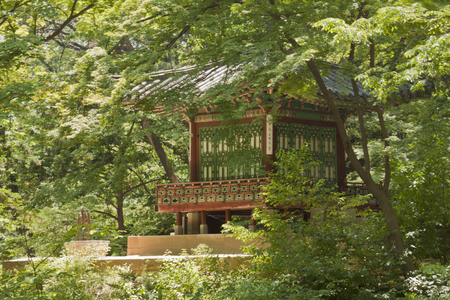 recreational area: Seoul, South Korea-May 21, 2015: Seungjaejeong, Secret Garden of Changdeokgung Palace, Seoul, South Korea on May 21, 2015 - The forbidden place for the recreational area and retreat for the royal family. The Secret Garden, the secluded rear garden of the  Editorial