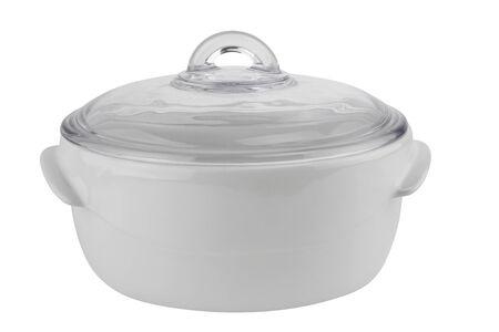 White ceramic saucepan isolated on white background