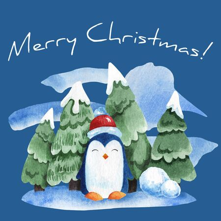 Watercolor illustration of a penguin with a background of fir trees in the snow. Illustration for new year card