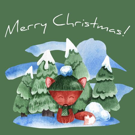 Watercolor illustration of a fox with a background of fir trees in the snow. Illustration for new year card Stock Photo