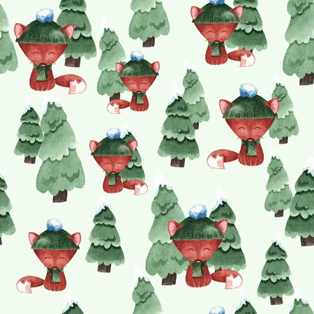 Seamless watercolor background with foxes and Christmas trees. Winter pattern for the decor of cards, gifts, textiles and more.