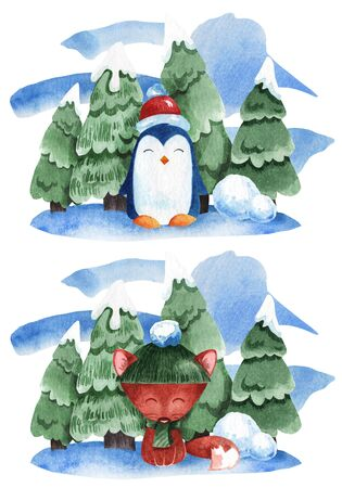 Watercolor illustration of a penguin and a fox on a background of fir trees in the snow. Stock Photo
