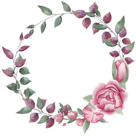 Round frame for decorating photos flowers, leaves, watercolor, on a white background.