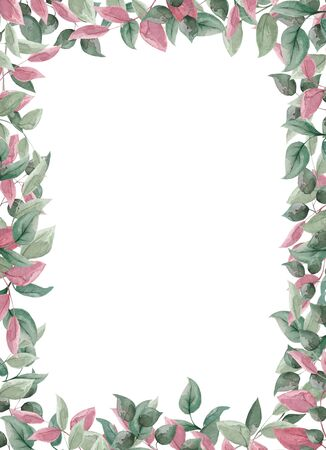 Vertical botanical frame for registration of photos, invitation cards on a wedding and a decor.