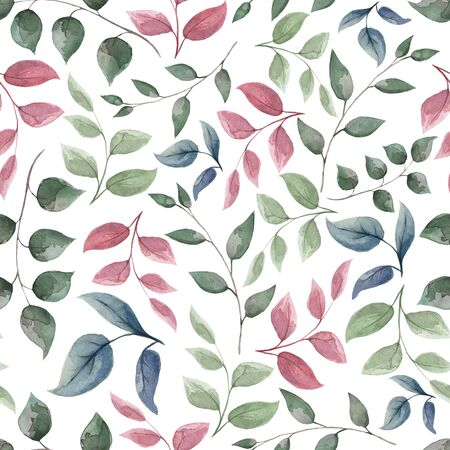 Pattern of red green turquoise blue watercolor leaves on an isolated background.. 版權商用圖片