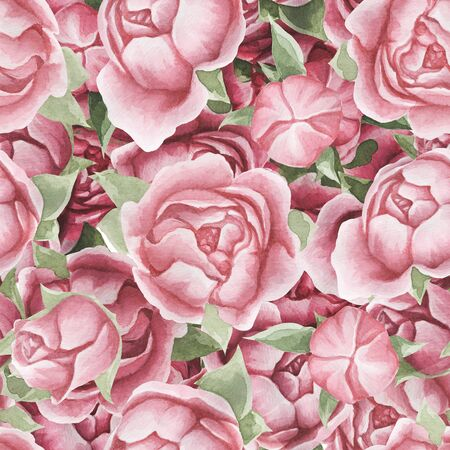 Floral seamless pattern with delicate pink flowers and leaves, hand-drawn watercolor background.
