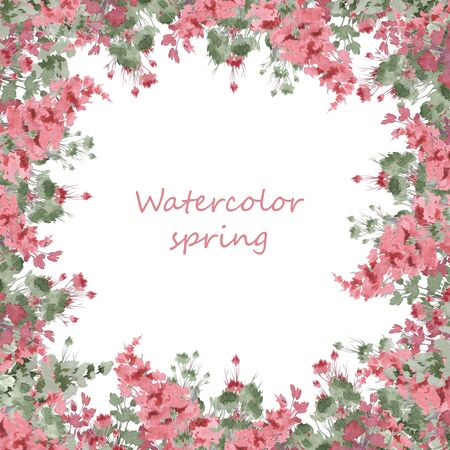 Square composition of watercolor flowers. Flower illustration. Festive frame or frame for decoration. Frame of delicate spring flowers. Stok Fotoğraf