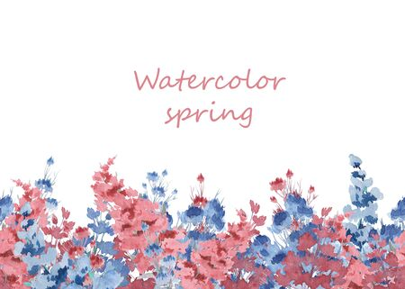 The composition of watercolor flowers. Illustration for spring cards. Flower background Stock Illustration - 132076195