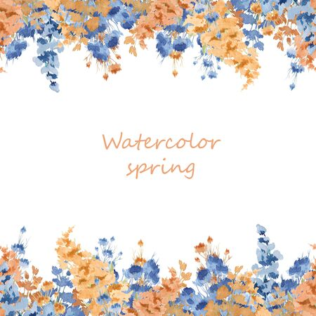 Composition of watercolor flowers. Flower illustration. Botanical composition for a wedding or greeting card. Frame of delicate spring flowers.