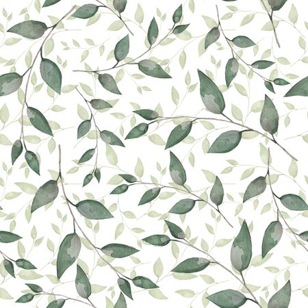 Spring leaves. Botanical seamless pattern Background for scrapbook, design of cards, decor, textiles 版權商用圖片