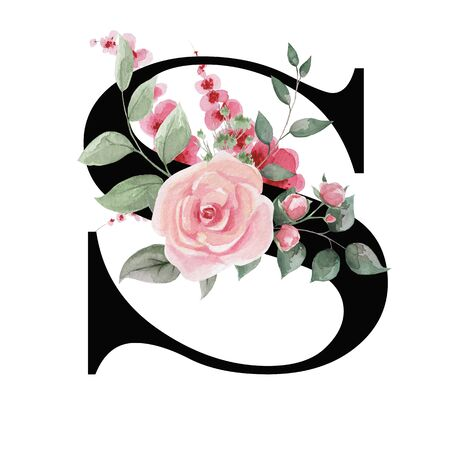 Capital letter S for text design, holiday cards, decor and design of text messages, wedding invitations. Stok Fotoğraf