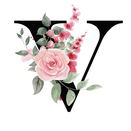 Capital letter V for text design, holiday cards, decor and design of text messages, wedding invitations. Letter on the background of delicate watercolor flowers - roses, leaves, buds, branches.