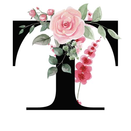Capital letter T for text design, holiday cards, decor and design of text messages, wedding invitations.