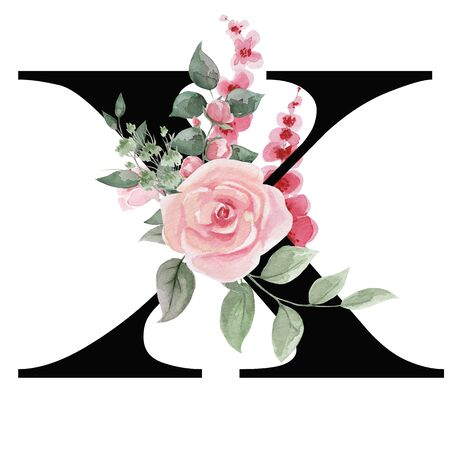 Capital letter X for text design, holiday cards, decor and design of text messages, wedding invitations. Letter on the background of delicate watercolor flowers - roses, leaves, buds, branches. Stock Photo