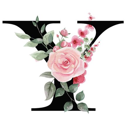 Capital letter Y for text design, holiday cards, decor and design of text messages, wedding invitations. Letter on the background of delicate watercolor flowers - roses, leaves, buds, branches. Stock Photo