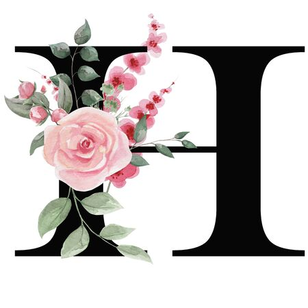 Capital letter H for text design, holiday cards, decor and design of text messages, wedding invitations. Letter on the background of delicate watercolor flowers - roses, leaves, buds, branches.