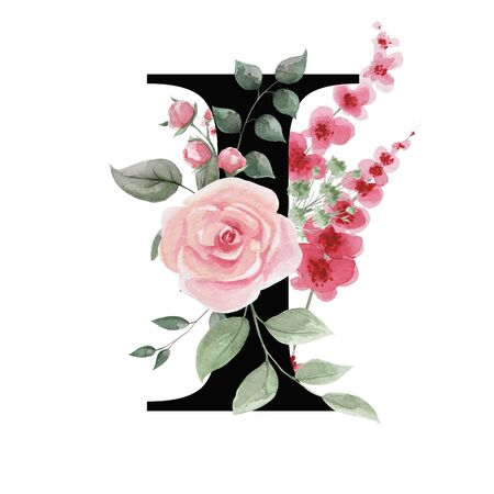 Capital letter I for text design, holiday cards, decor and design of text messages, wedding invitations. Letter on the background of delicate watercolor flowers - roses, leaves, buds, branches.