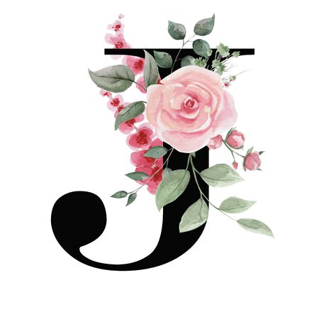 Capital letter J for text design, holiday cards, decor and design of text messages, wedding invitations. Letter on the background of delicate watercolor flowers - roses, leaves, buds, branches.