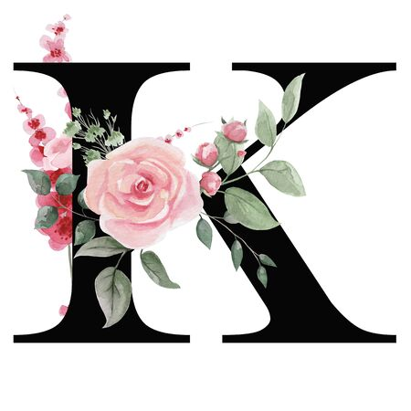 Capital letter K for text design, holiday cards, decor and design of text messages, wedding invitations. Letter on the background of delicate watercolor flowers - roses, leaves, buds, branches. Stok Fotoğraf