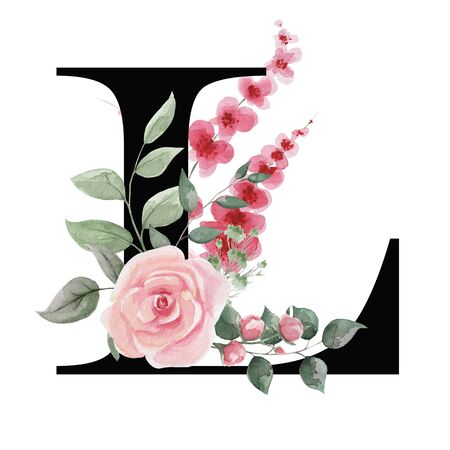Capital letter L for text design, holiday cards, decor and design of text messages, wedding invitations. Letter on the background of delicate watercolor flowers - roses, leaves, buds, branches.