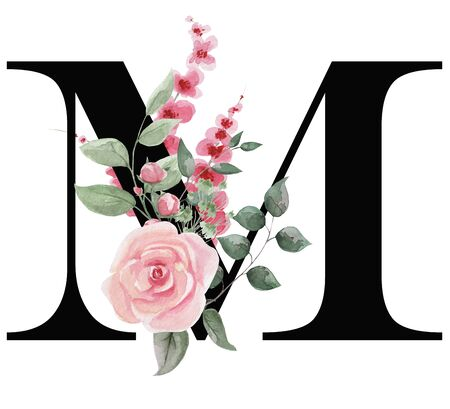 Capital letter M for text design, holiday cards, decor and design of text messages, wedding invitations. Letter on the background of delicate watercolor flowers - roses, leaves, buds, branches. Stock Photo