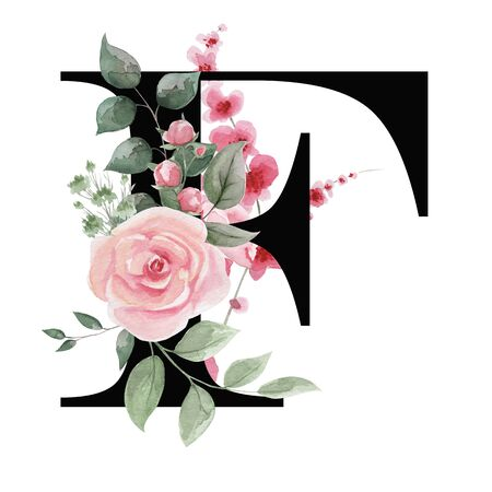 Capital letter F for text design, holiday cards, decor and design of text messages, wedding invitations. Letter on the background of delicate watercolor flowers - roses, leaves, buds, branches.