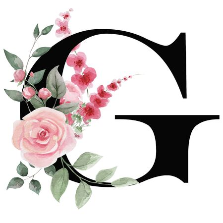Capital letter G for text design, holiday cards, decor and design of text messages, wedding invitations. Letter on the background of delicate watercolor flowers - roses, leaves, buds, branches. Stock Photo