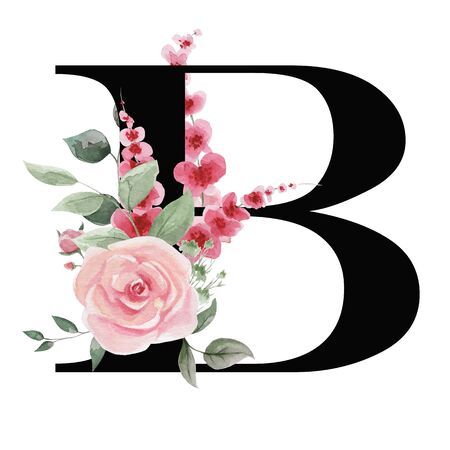 Capital letter B for text design, holiday cards, decor and design of text messages, wedding invitations.
