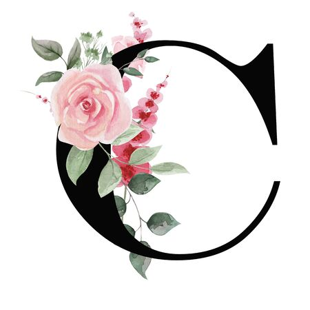 Capital letter C for text design, holiday cards, decor and design of text messages, wedding invitations.
