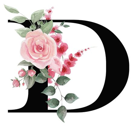 Capital letter D for text design, holiday cards, decor and design of text messages, wedding invitations. Stock Photo