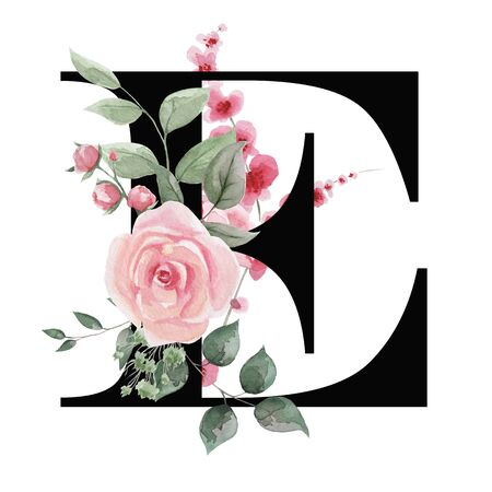 Capital letter E for text design, holiday cards, decor and design of text messages, wedding invitations.