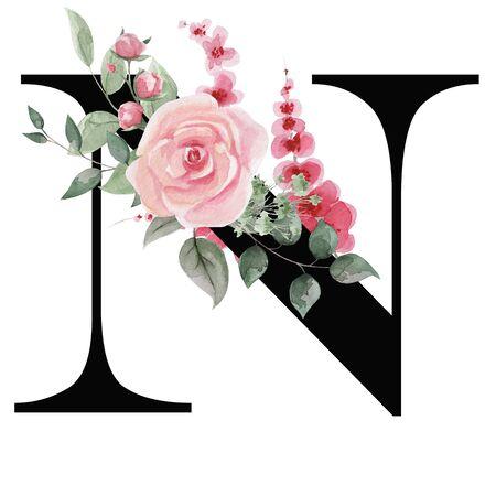 Litera N dla projektu tekstu, kartki świąteczne, wystrój i projektowanie wiadomości tekstowych, zaproszenia ślubne.