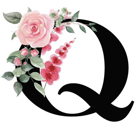 Capital letter Q for text design, holiday cards, decor and design of text messages, wedding invitations.