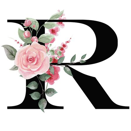 Capital letter R for text design, holiday cards, decor and design of text messages, wedding invitations.