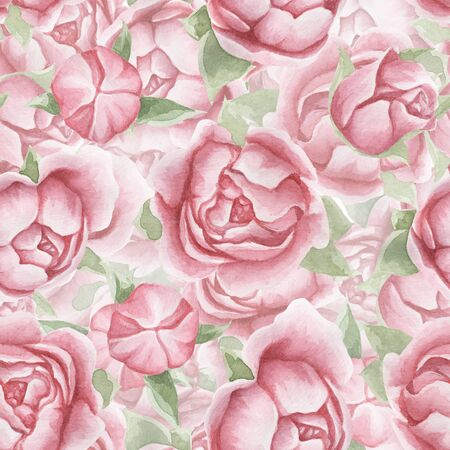 Floral seamless pattern with delicate pink flowers and leaves, hand-drawn watercolor background. Floral summer pattern of peonies, roses. Pattern for design fabrics, textiles, clothing, objects.