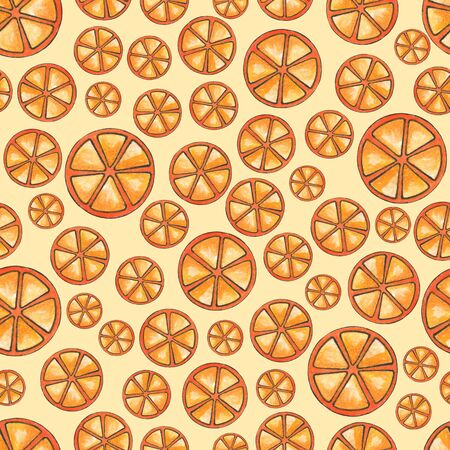 Seamless watercolor background of orange slices. Summer design for the decoration of textiles and items. Round orange slices on a light background.
